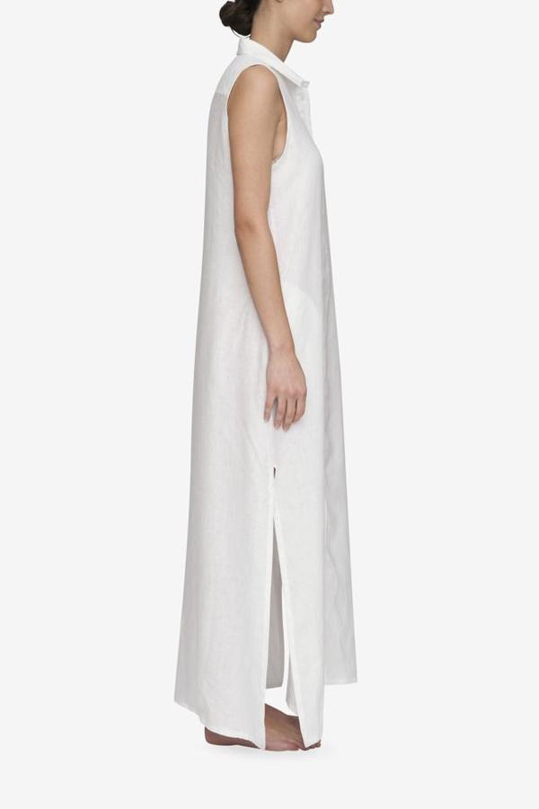 207403be67 The Sleep Shirt Long Sleeveless Sleep Shirt - White Linen