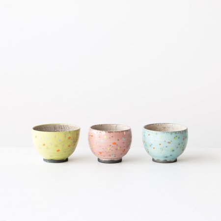Poterie Pluriel Singulier Set of 3 Raku Bowls - Multicolored Polkadots