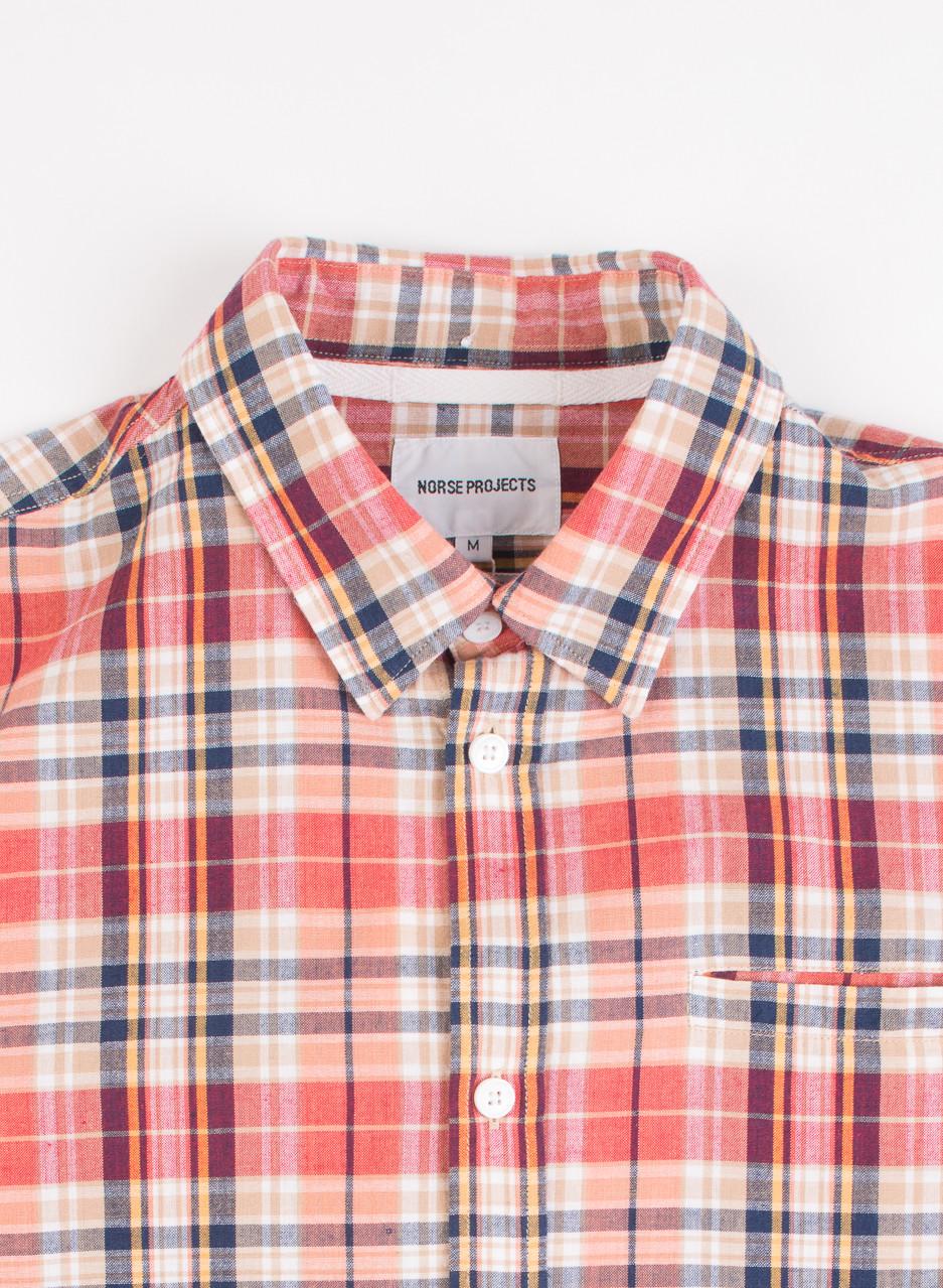 Men 39 s norse projects anton madras shirt blood orange for Mens madras shirt sale