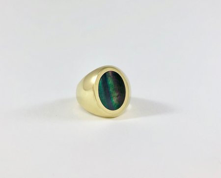 Legier Black Mother of Pearl Oval Stone Signet Ring