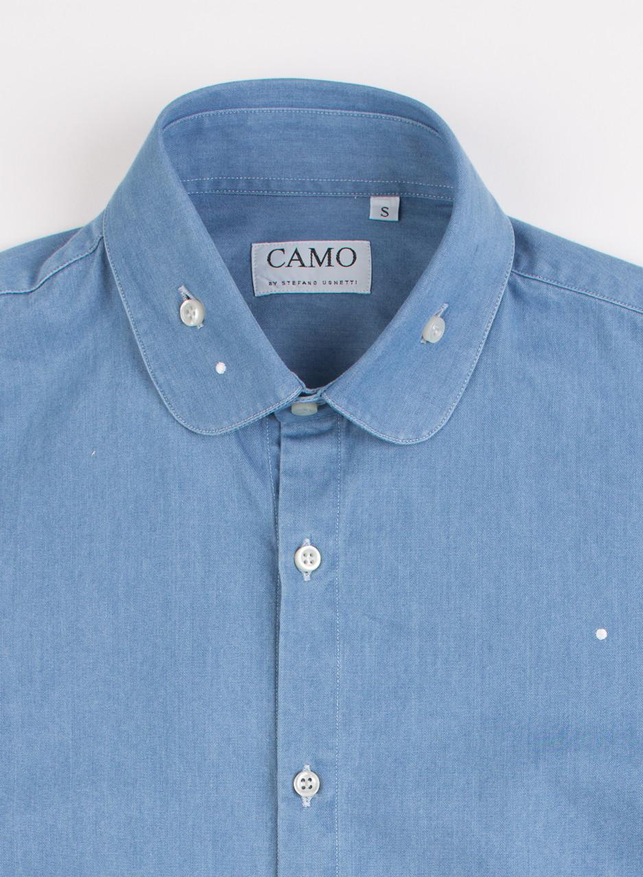 Men 39 s camo sheremetyevo round collar shirt chambray for Round collar shirt men