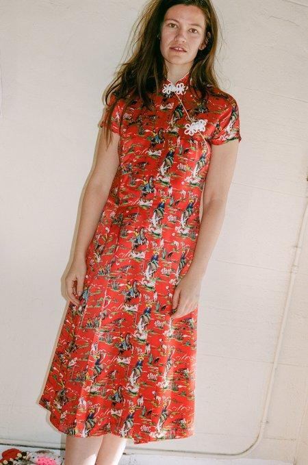 Suzanne Rae Frog Closure Dress - Cowboy Silk Print