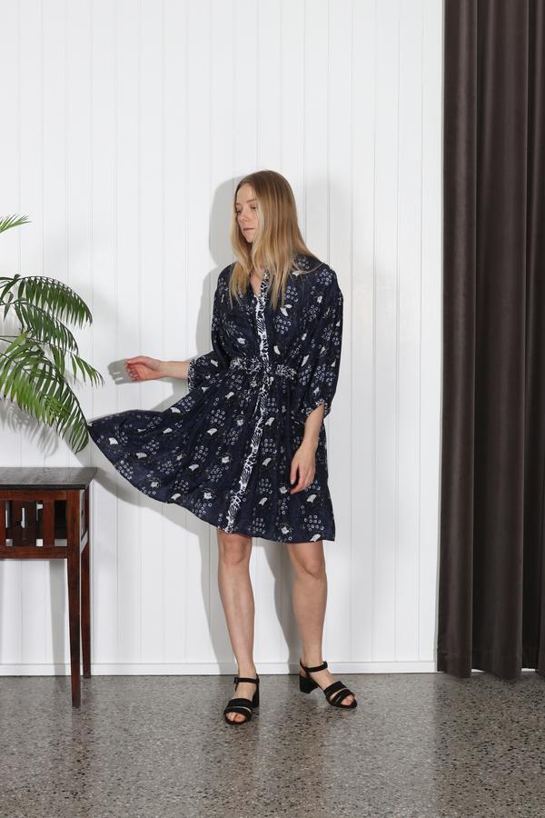 Apiece Apart Marinas Mini Shirt Dress - Navy Sombras Floral