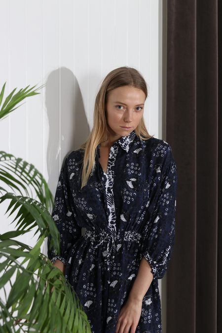Apiece Apart Marinas Mini Shirt Dress - Navy Sombras Floral