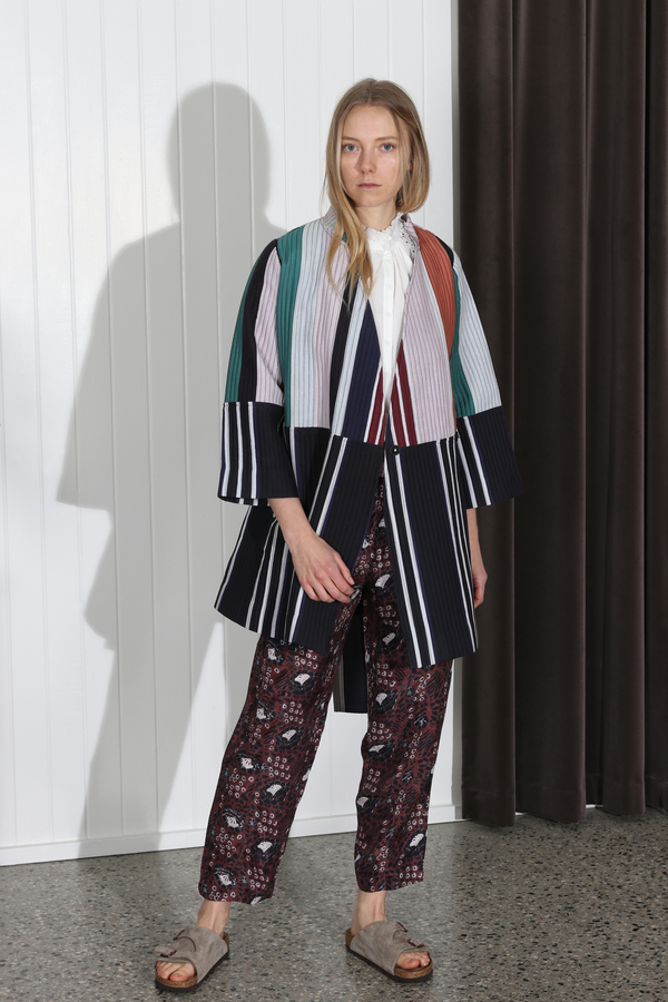 Apiece Apart Boro Patch Wrap Jacket - Stripe Mixto