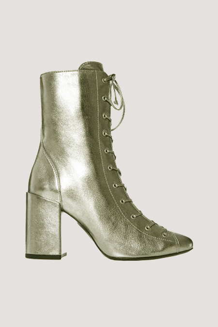 MAISON ERNEST Bandit Leather Booties - Gold Metal