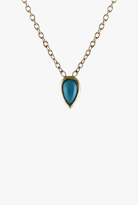 Lumo Pear Necklace - 14k gold/turquoise