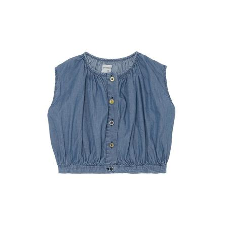 KIDS Yellow Pelota Mix Buttons Blouse - Denim