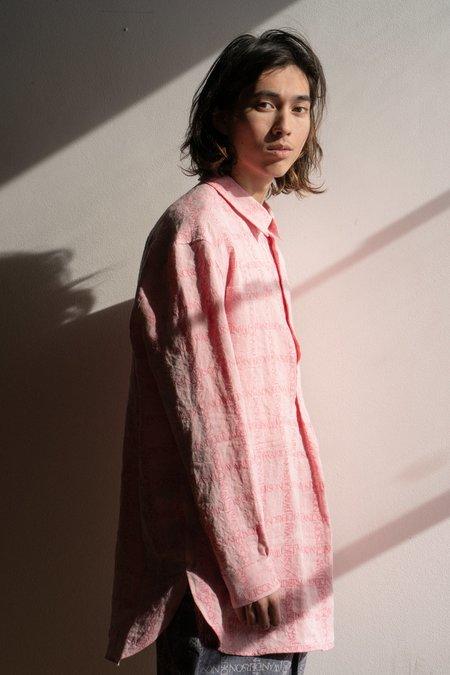 JW ANDERSON Logo Grid Linen Tunic Shirt - Bubblegum