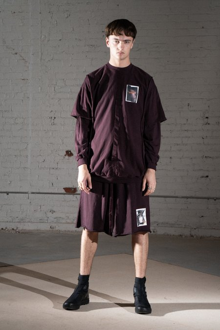 Komakino Scraps Fleece Shorts - Burgundy