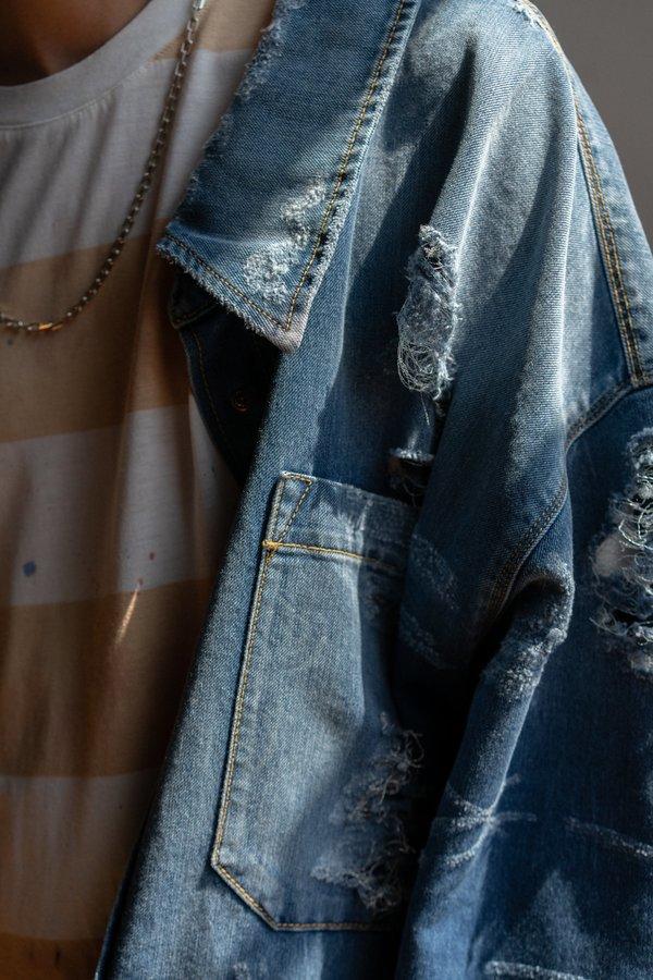 0488fb0273 Faith Connexion Oversized Destroyed Denim Shirt Jacket - blue ...