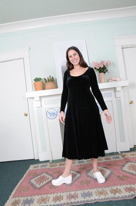 Weird Sisters Vintage Stretch Velvet Scoop-neck Dress - Black