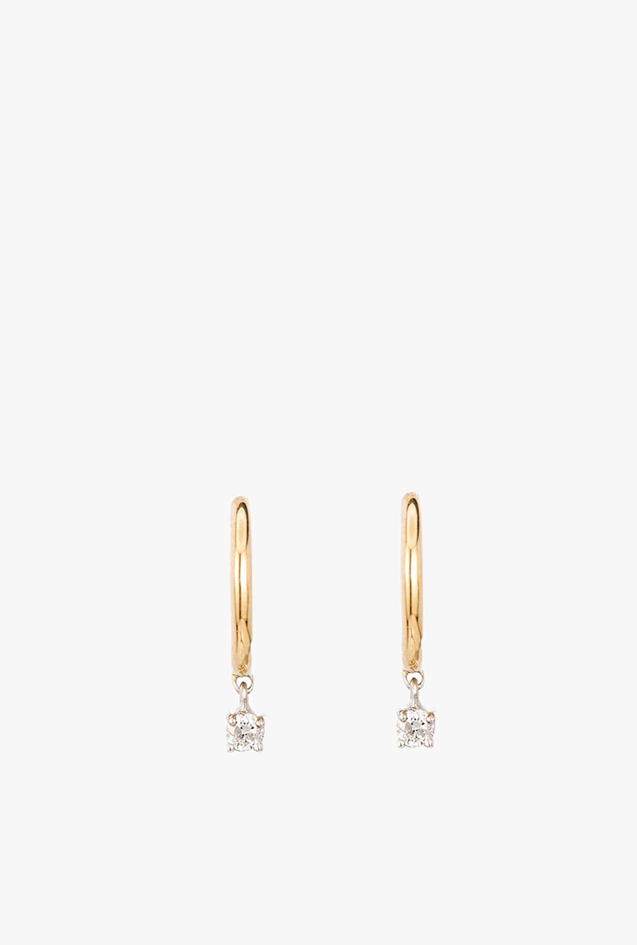 80681818c Adina Reyter 1 Diamond Charm Huggie Hoop Earrings - 14k Gold ...