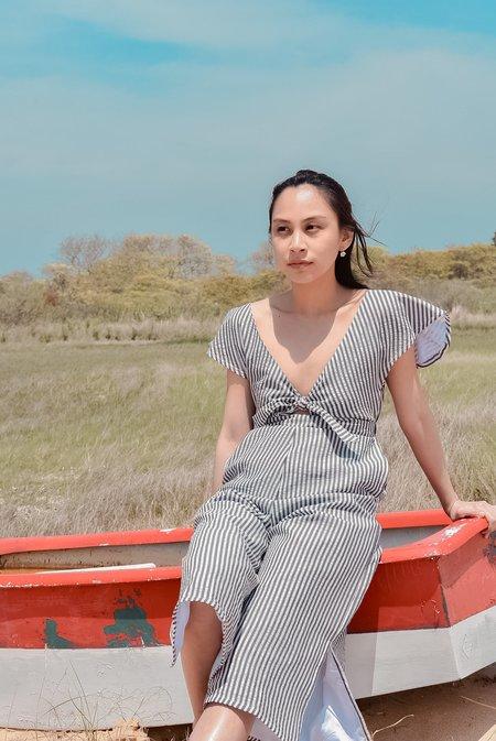 Conrado Johanna Jumpsuit - Grey/White Stripe