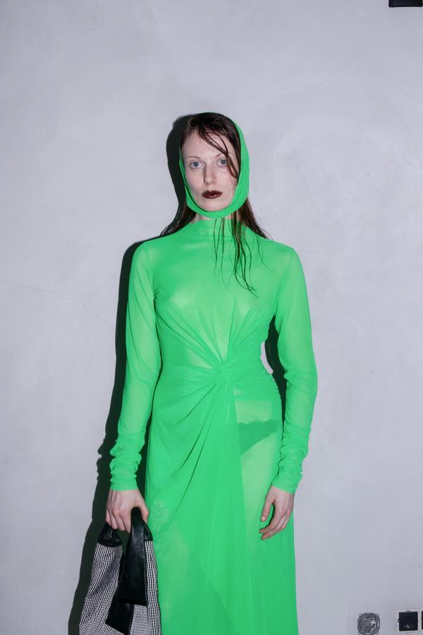 AUNÉ MESH DRAPED DRESS - ACID GREEN