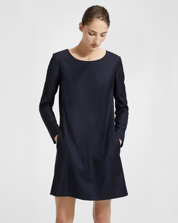 8c19eb0d0dd3 Theory Long Sleeve Paneled Shift Dress - Deep Royal | Garmentory