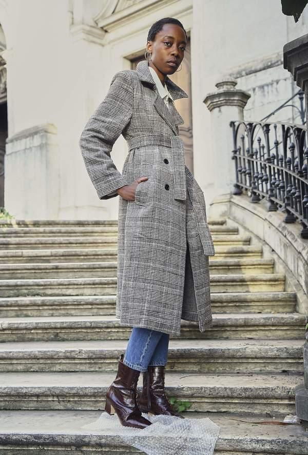 Yuka Paris Maïla Plaid Coat - Grey
