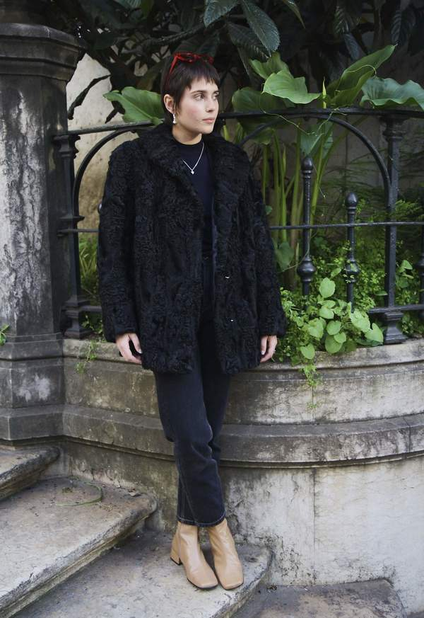 Bird On A Wire Vintage Calf Wool Coat - Black