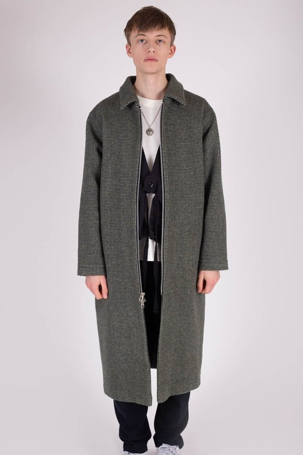 new collection unequal in performance factory outlets Four Horsemen Long Wool Car Coat - Forest Check on Garmentory