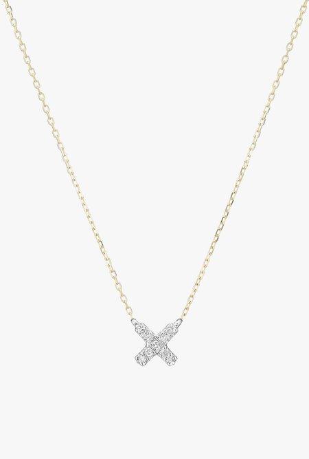 Adina Reyter Super Tiny Solid Pavé X Necklace - 14k Gold/White Diamond