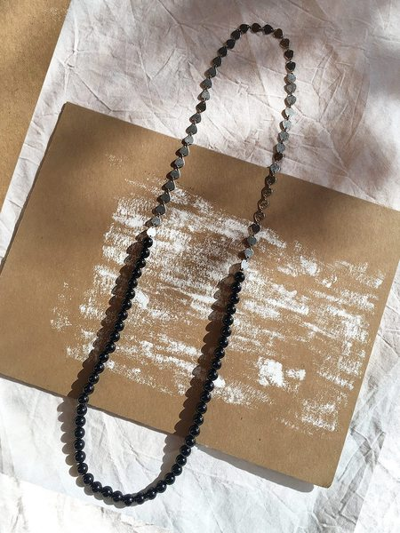 This Woman's Work Duo Necklace - Half Onyx/Half Steel