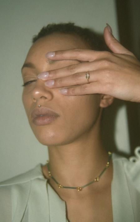 Beatriz Palacios Green Amethyst and Garnet Ring