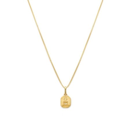LEAH ALEXANDRA LOVE TOKEN SQUARE NECKLACE - Gold