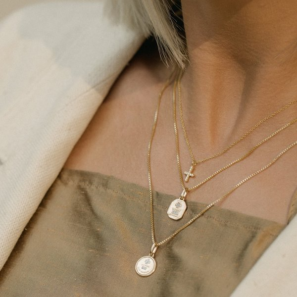 Leah Alexandra Love Token Square Necklace   Gold by Garmentory