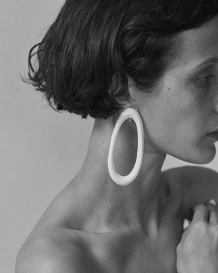 Arc Objects Porcelain Hoop Earrings