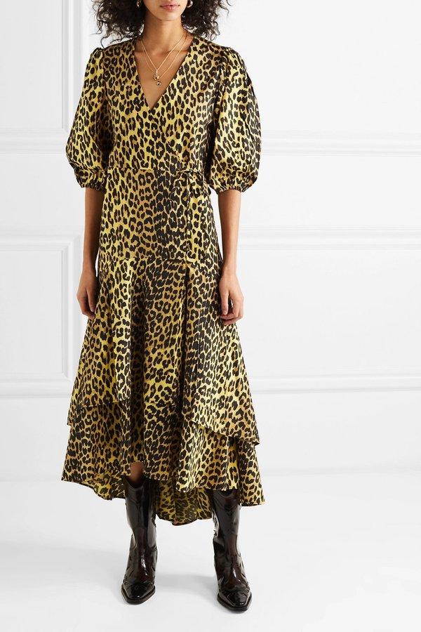 6ae3c0c0fc46 Ganni Bijou Cotton Poplin Wrap Dress - Leopard Print   Garmentory