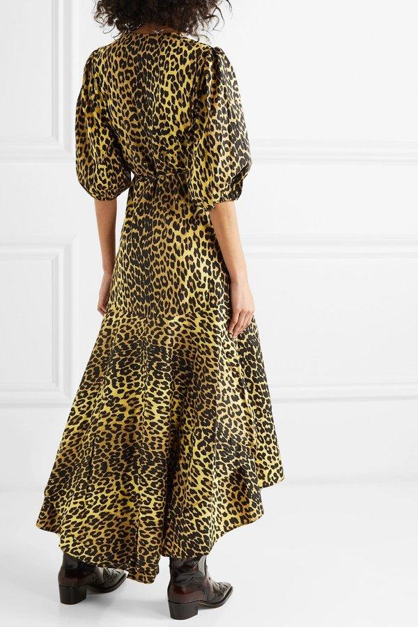 6b5e1132 Ganni Bijou Cotton Poplin Wrap Dress - Leopard Print | Garmentory