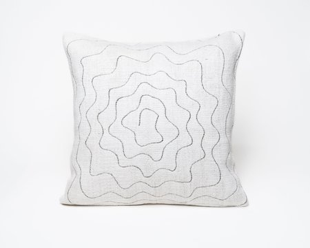 Collected by Wynne Ware Antique Turkish Large Hemp Swirl Pillow Cover II - Off White