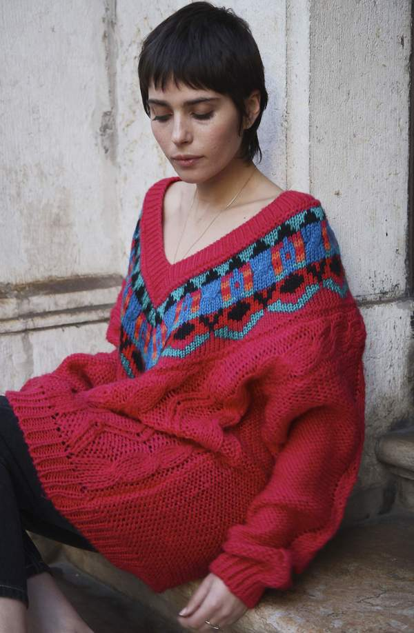 Bird On A Wire Vintage 90s Chunky Jumper - Pink
