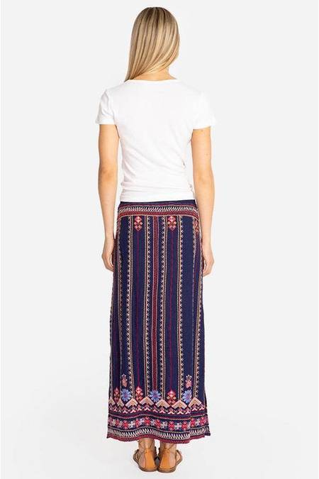 Johnny Was Frederique Side Slit Maxi Skirt - Navy