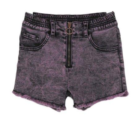 KIDS Andorine Denim Distressed Shorts - PURPLE