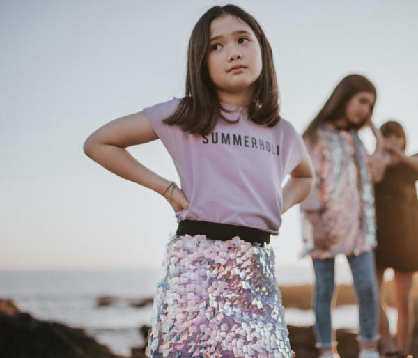 KIDS Andorine Iridescent Sequin Skirt - Pink