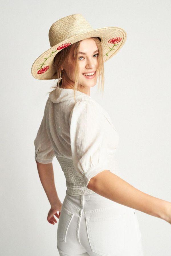 9e305b26 BRIXTON JOANNA EMBROIDERED HAT - TAN   Garmentory