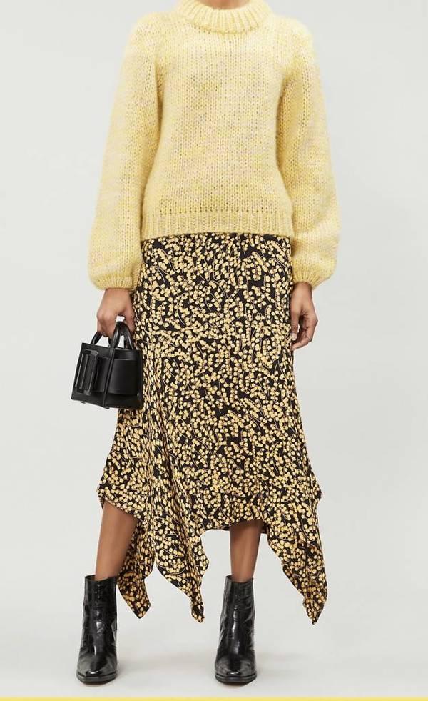 87d7bb50d8 Ganni Printed Crepe Skirt