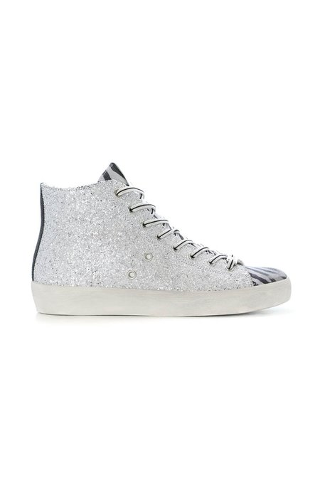 Leather Crown Zebra Classic Low Top Sneaker - Silver