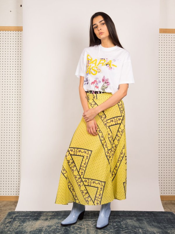 13eece575 Ganni Silk Mix Skirt - Minion Yellow | Garmentory