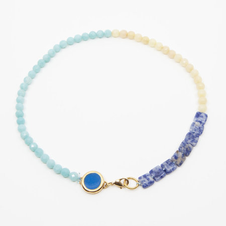 A. Carnevale Beaded Necklace - Blue/Yellow