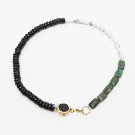 A. Carnevale Beaded Necklace - Green/Black