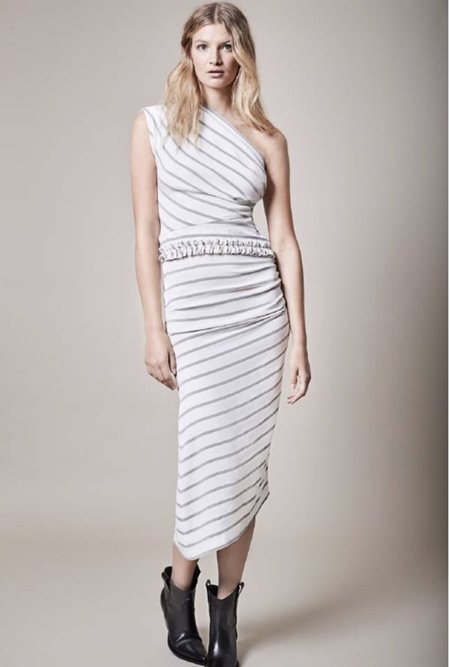 Smythe Asymmetrical Skirt - White/Black Diagonal Stripe