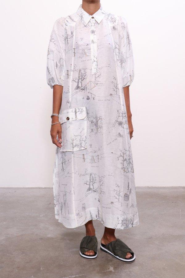 1ca46c1ec52947 Ganni Silk Linen Dress - Egret | Garmentory