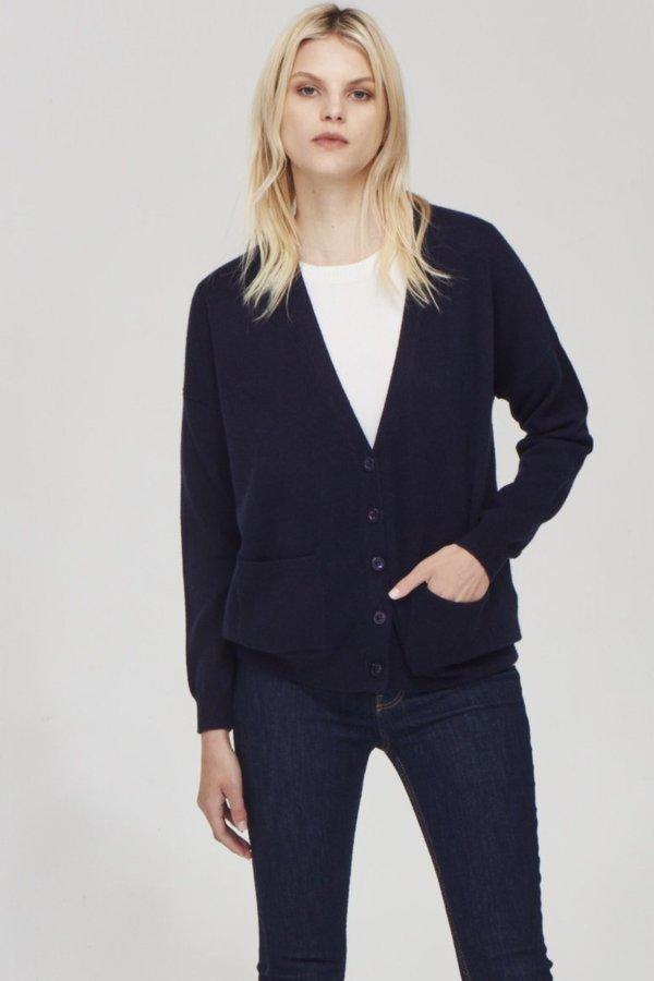 41f05036331 Laing Home The Cashmere Boyfriend Cardigan - Ink on Garmentory