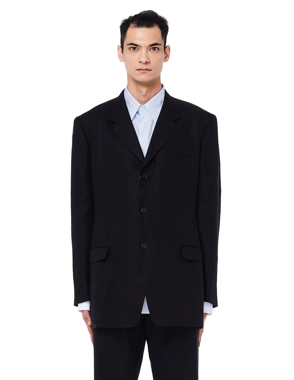 968ee91b3c03 Yohji Yamamoto Linen Jacket - Black | Garmentory