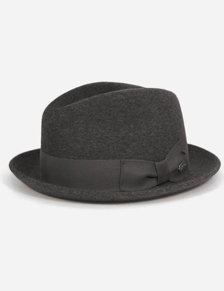 Bailey Hats Riff Fur Felt Trilby Hat - Charcoal Grey