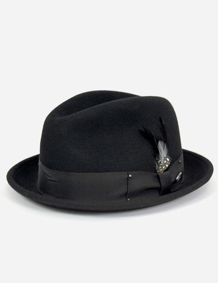 Bailey Hats Tino Felt Crushable Trilby Hat - Black