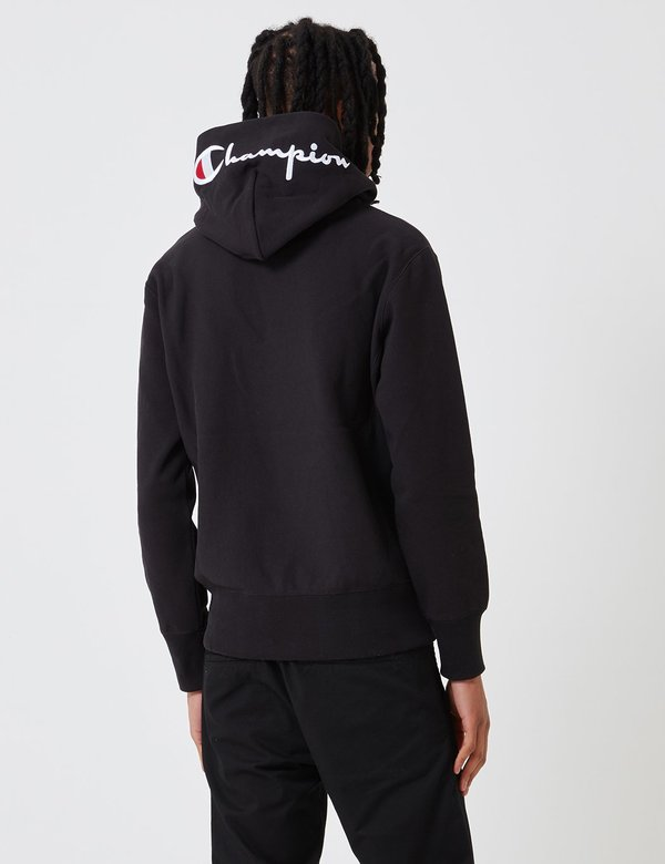 b8fa0cad Champion Reverse Weave Hoodie Sweatshirt Hood Logo - Black   Garmentory
