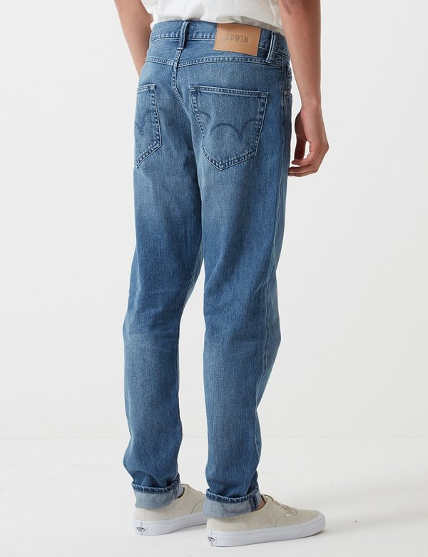 04879117 Edwin ED-45 Kingston Loose Tapered 12oz Denim Jeans - Blue Rinsed ...